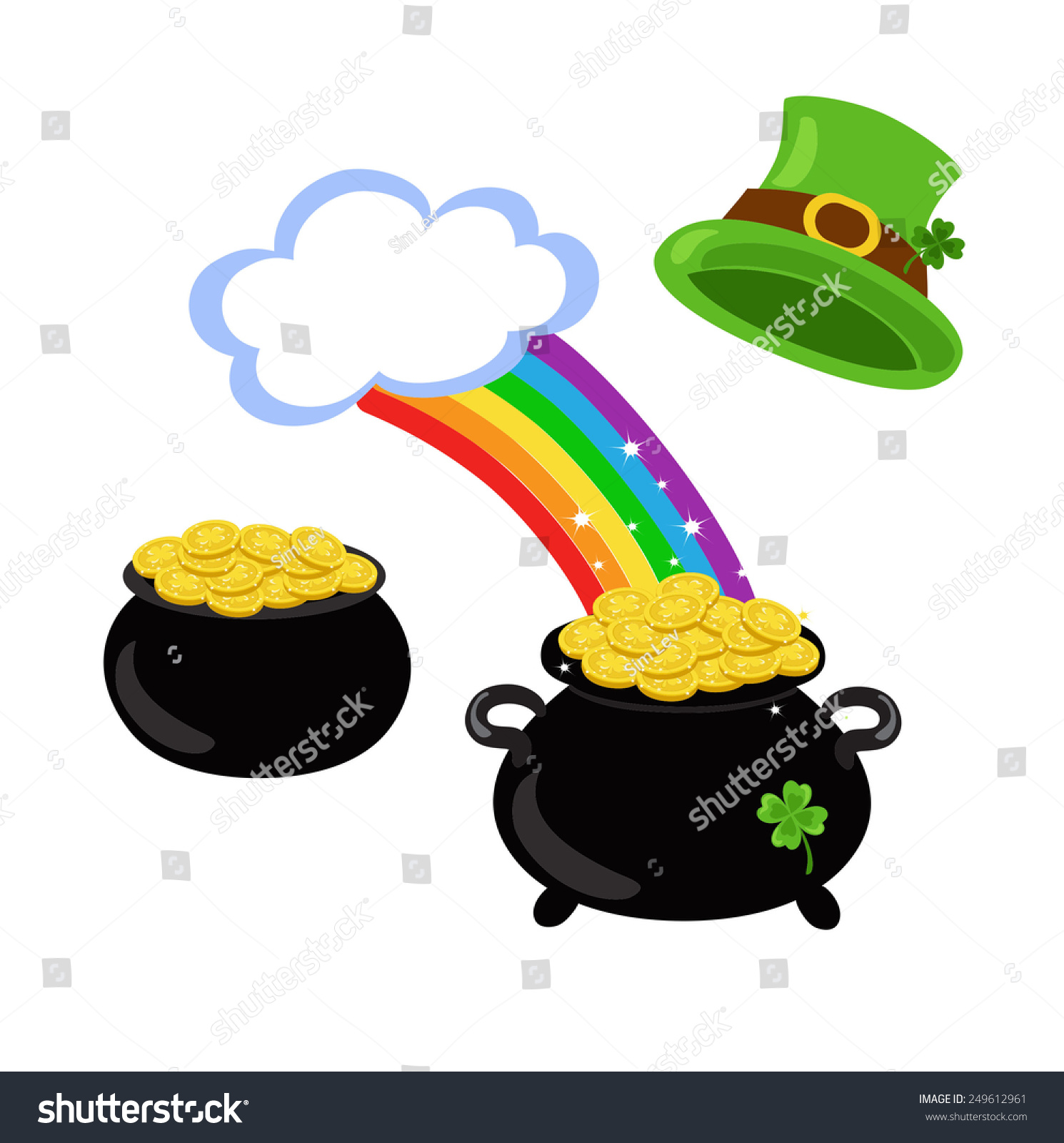 Vector Rainbow Green Hat Shamrock Pot Stock Vector 249612961 ...