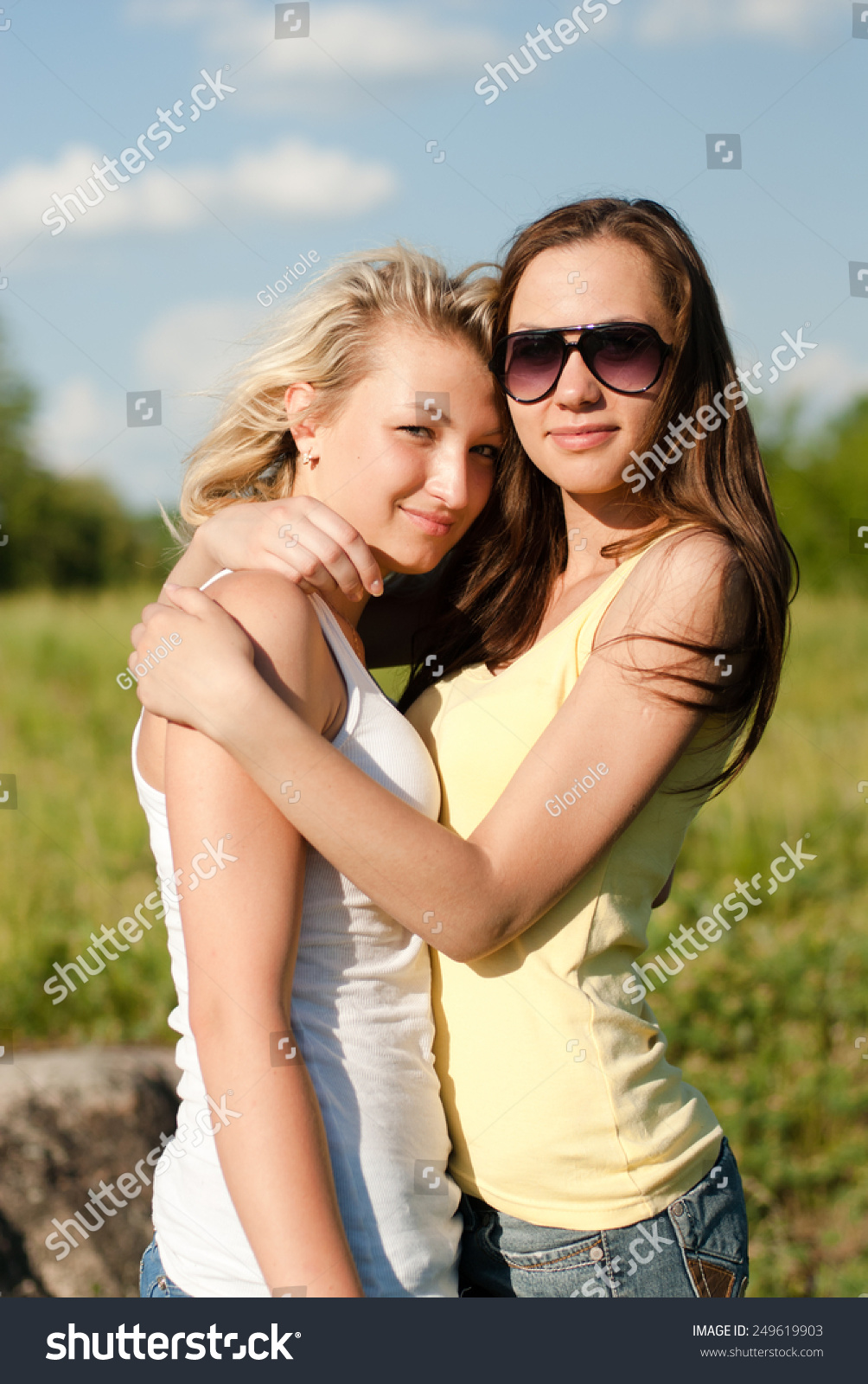 portrait 2 young pretty women sunglasses stock photo (royalty free