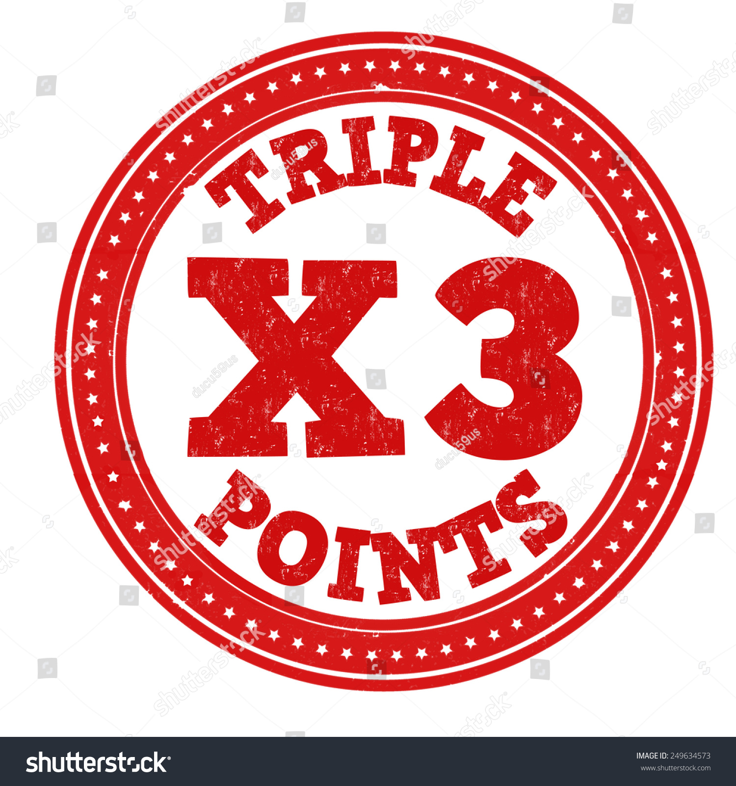 earn x 3 triple points grunge rubber stock vector royalty free