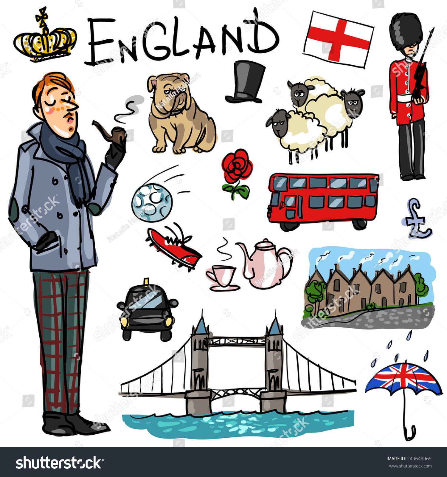 England Cartoon Collection Stock-Vektorgrafik (Lizenzfrei) 249649969 ...
