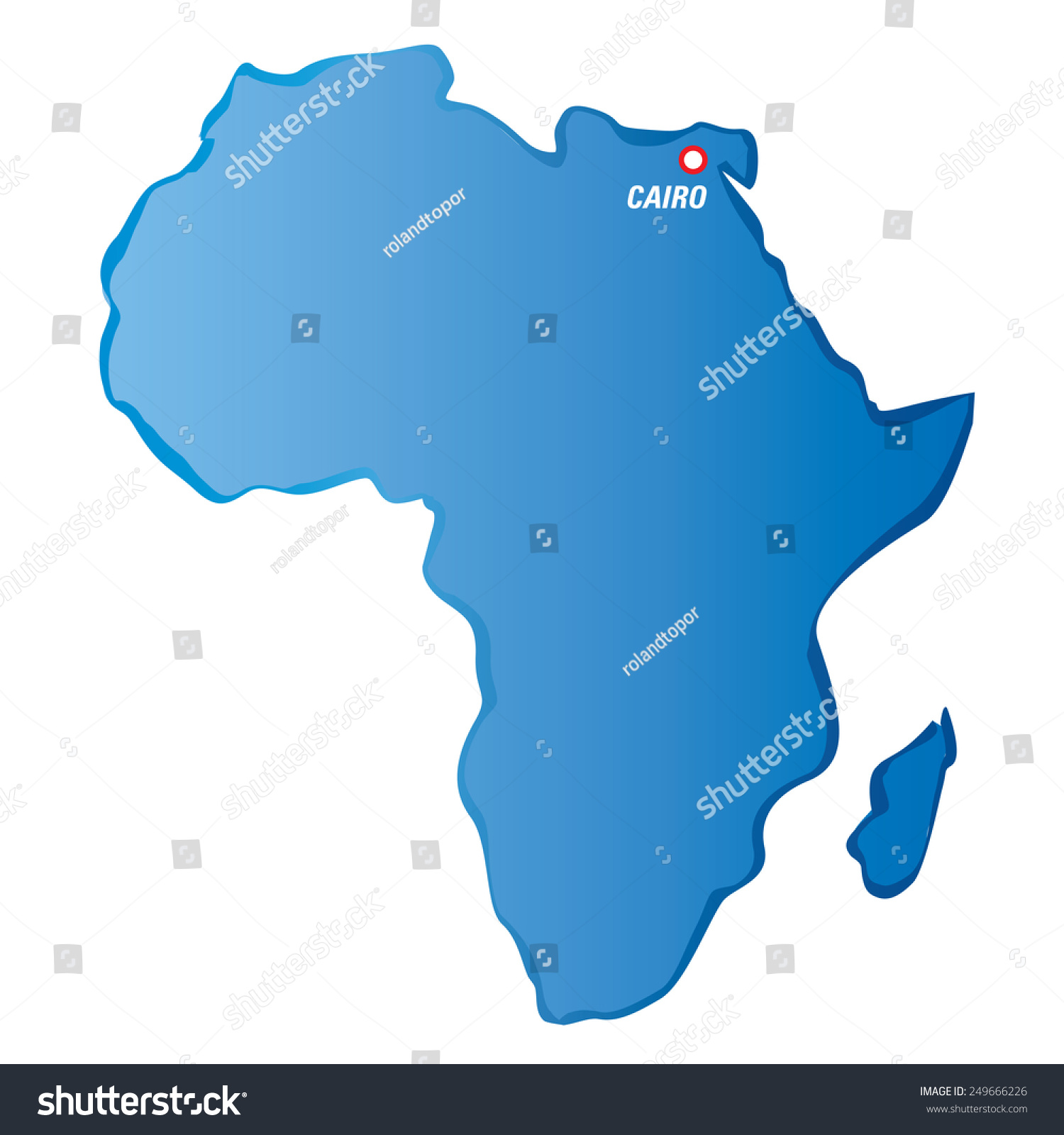 Blue Vector Map Africa Cairo Stock Vector (Royalty Free) 249666226 ...