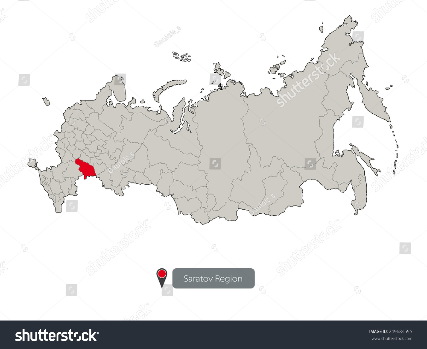 Map Russia Saratov Region Stock Vector 249684595 Shutterstock