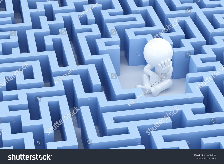 Lost Sad Man Center Maze 3 D Stock Illustration 249709066 - Shutterstock