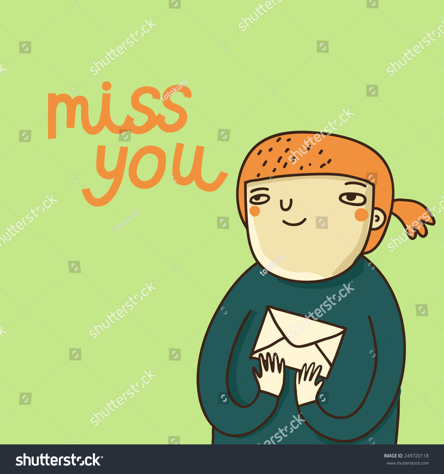 Cute Cartoon Card Girl Miss You Stock Vector Royalty Free