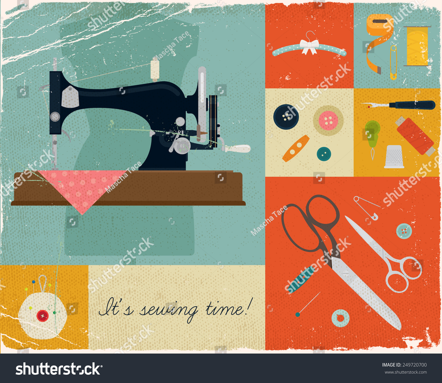 Vector retro style wall art printable decorative poster on for Sewing and craft supplies