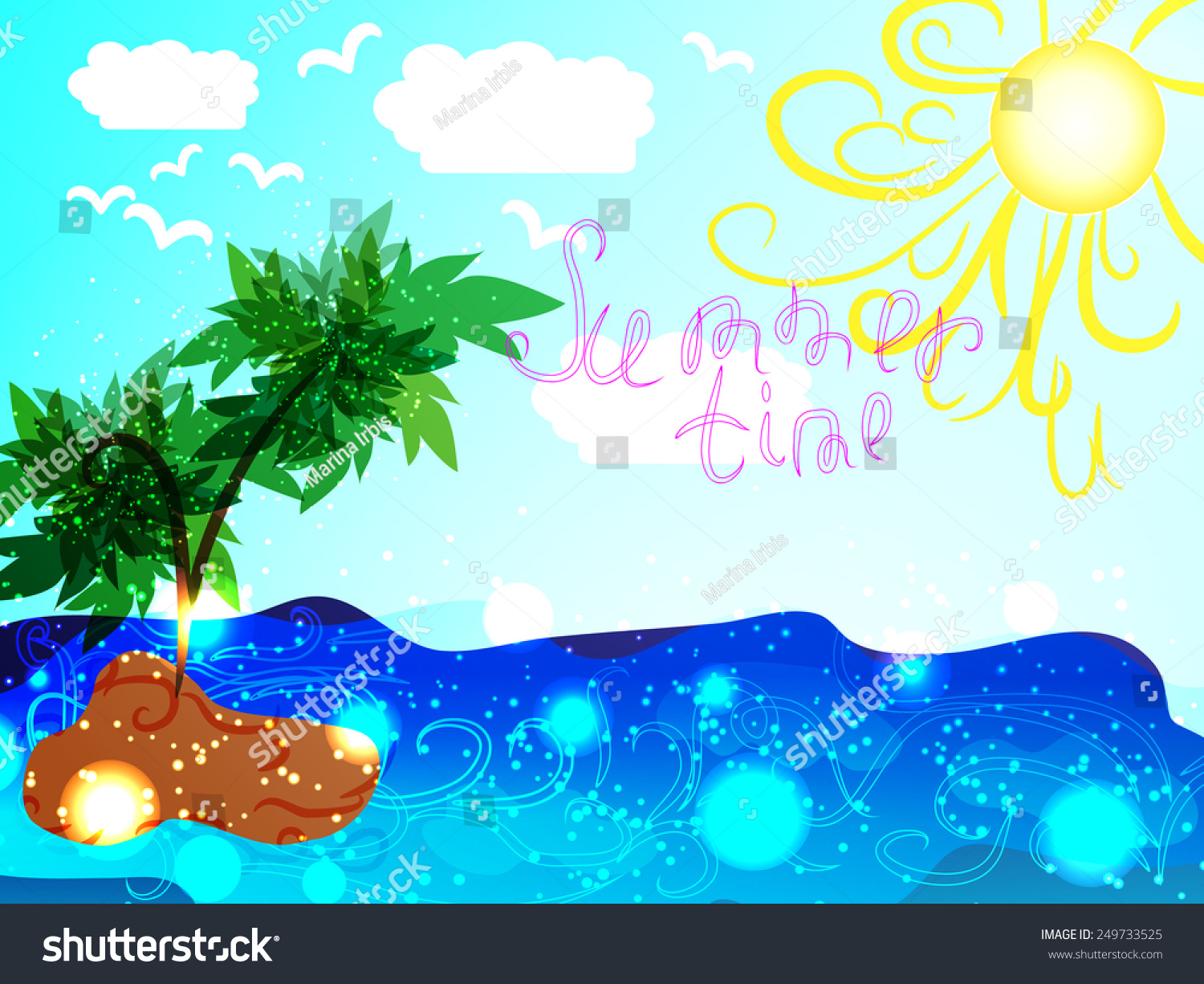 Summer Time Emblem Symbol Your Relax Stock Vector 249733525