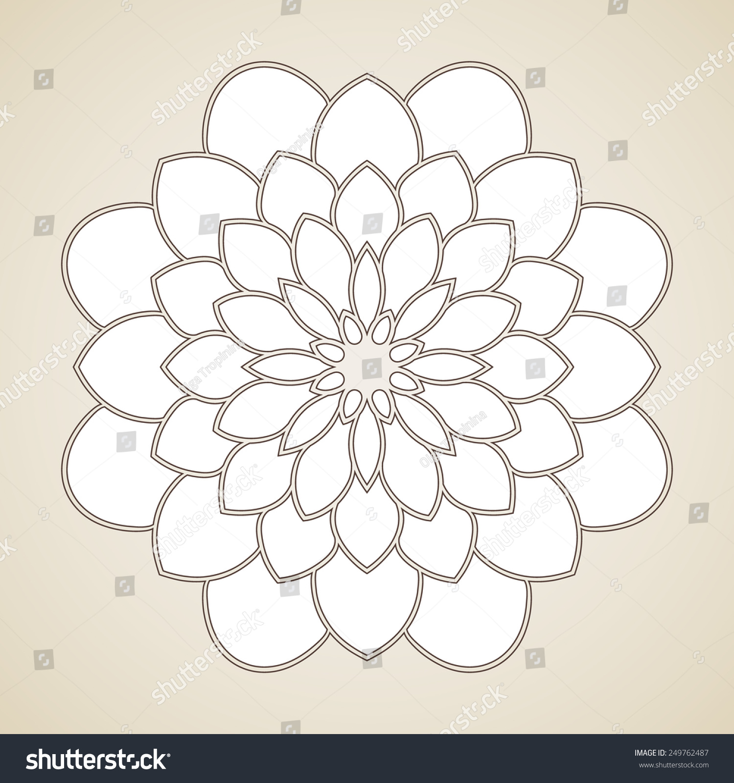 Round Flower Pattern, Circular Ornament Design Element ...