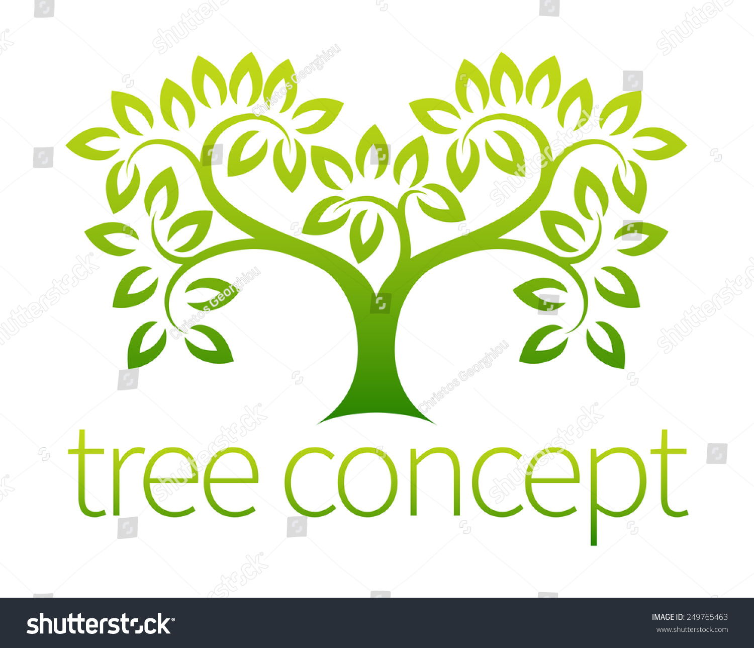 Tree Symbol Concept Stylised Tree Leaves Stock Vector 249765463