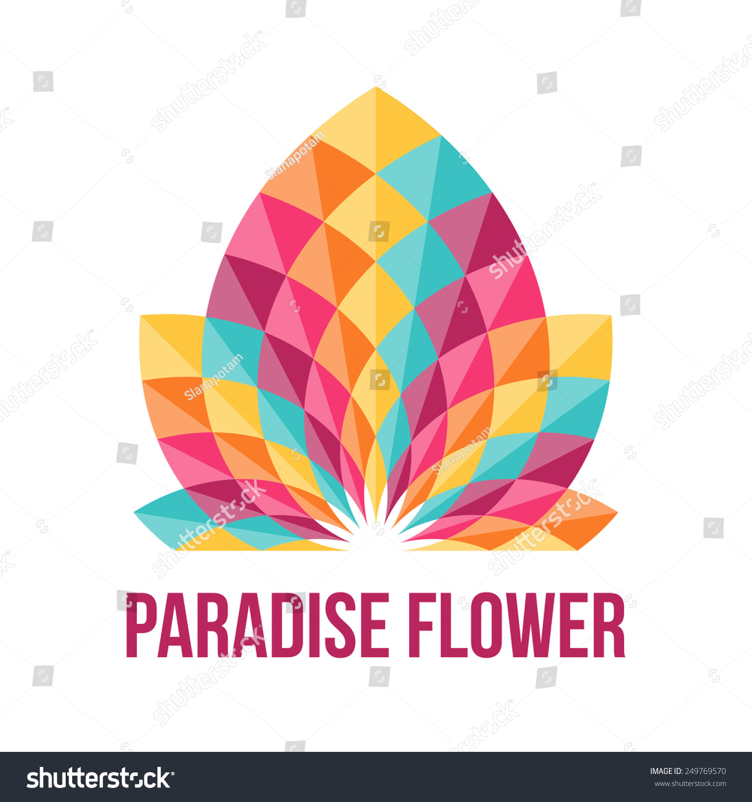 Fantastic Geometric Flower Abstract Symbol Beauty Stock Vector