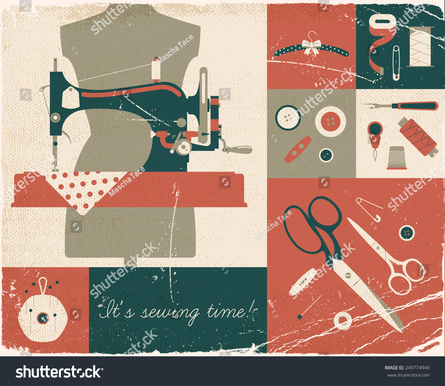 Vector four colored retro style wall stock vector for Arts and crafts sewing machine