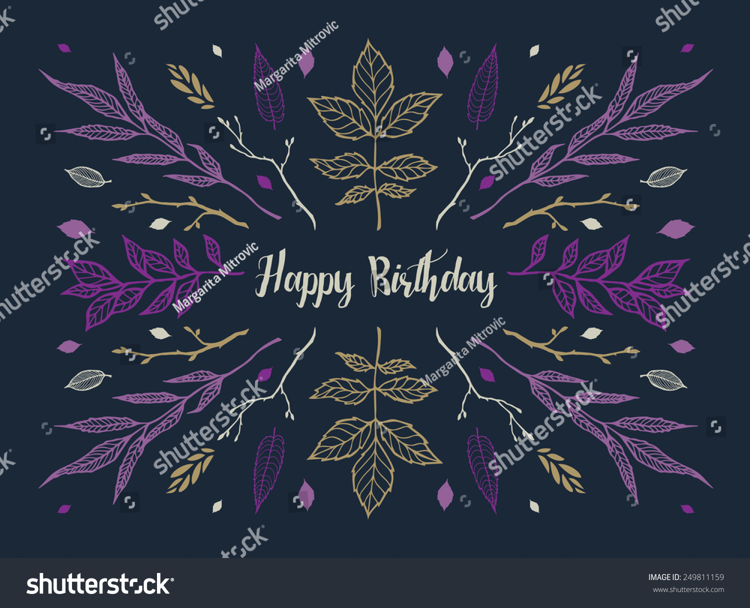 Happy Birthday Card Nature Floral Leaves Vector 249811159 – Nature Birthday Card
