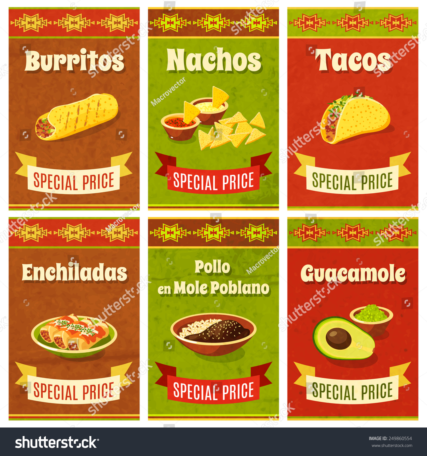 mexican food promo poster mini set stock vector 249860554 shutterstock. Black Bedroom Furniture Sets. Home Design Ideas