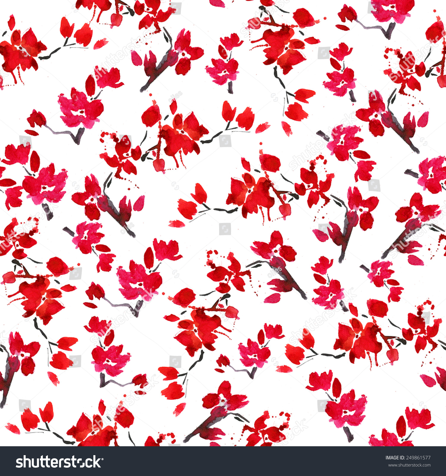 Vector Seamless Cherry Blossoms Background Blooming Stock