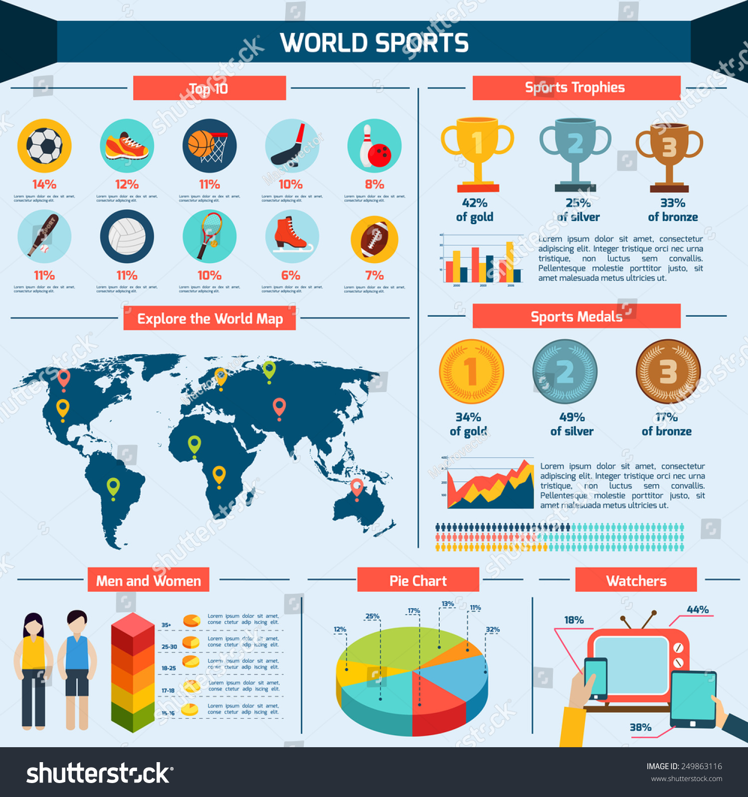Sports infographics set charts world map stock vector for Sports infographics templates