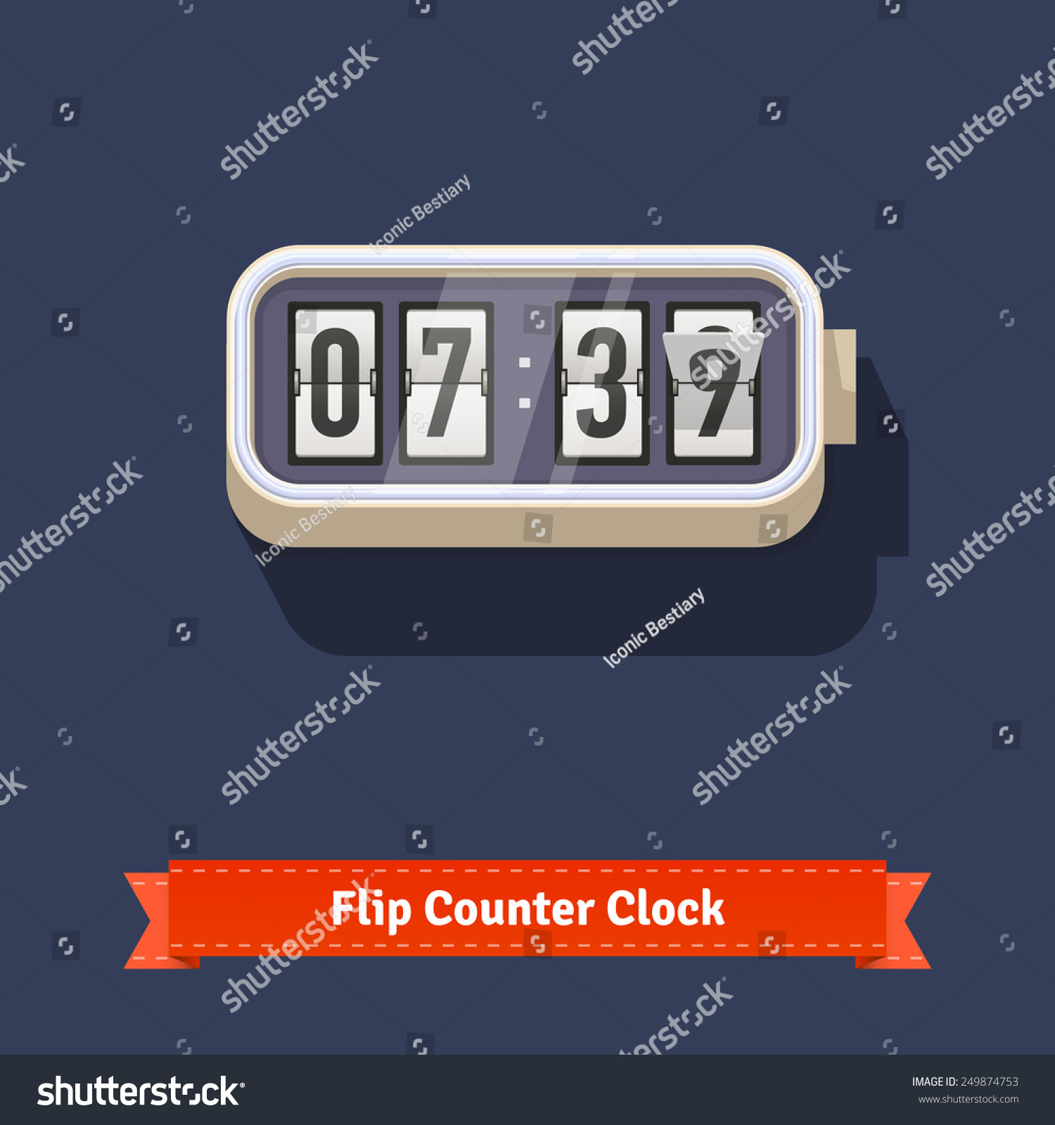 Wall flipping clock number counter template stock vector 249874753 wall flipping clock and number counter template plus all numbers with flips flat style illustration amipublicfo Choice Image