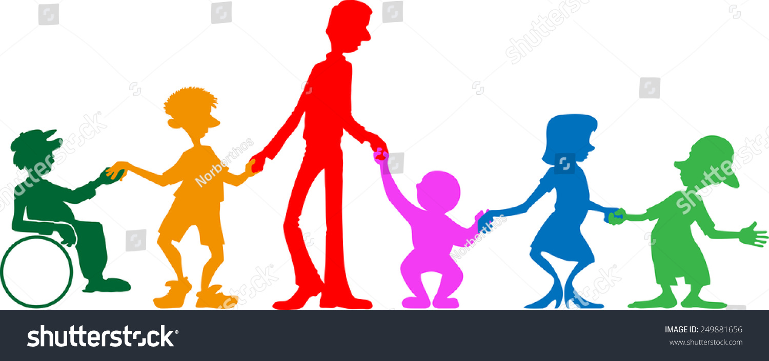 Multi Generational Family Stock Vector Illustration