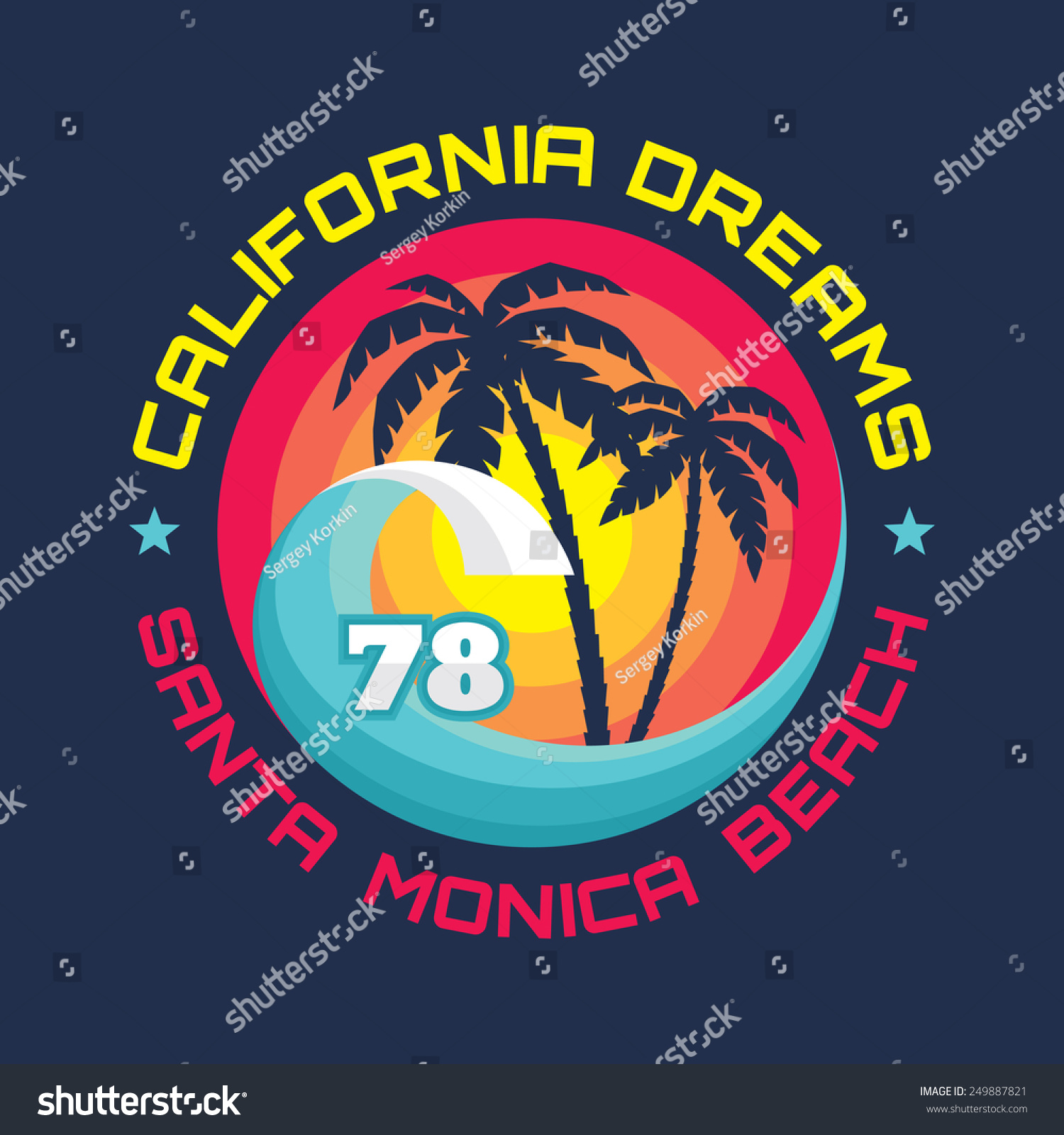 13c0ad669 California - Santa Monica beach - vector illustration in vintage graphic  style for t-shirt