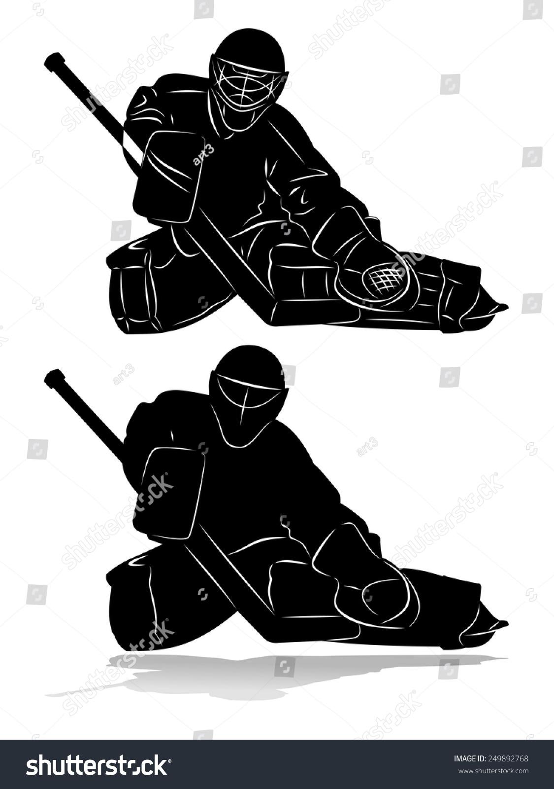 Vector Of Ice Hockey Goalie Silhouette Stock Photo 249892768