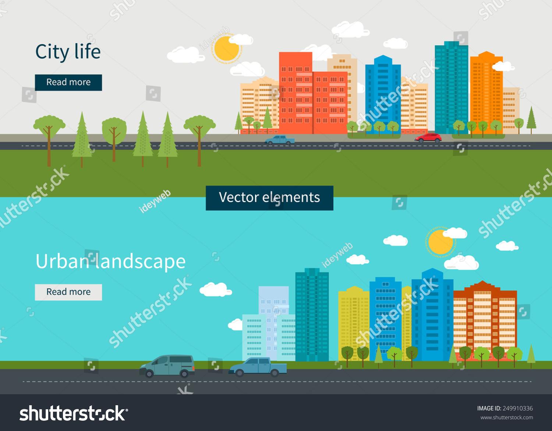 Town Landscape Vector Illustration: Flat Design Modern Vector Illustration Icons Stock Vector