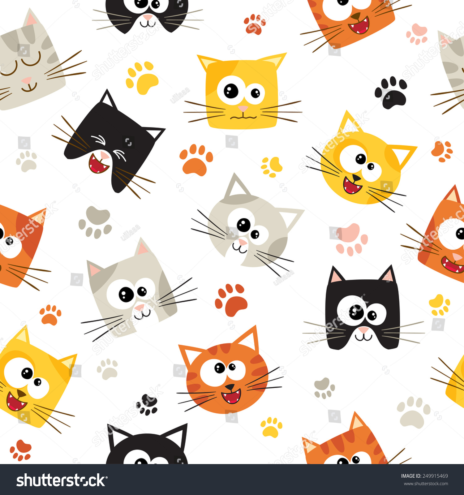 vector seamless pattern cute cartoon cats stock vector