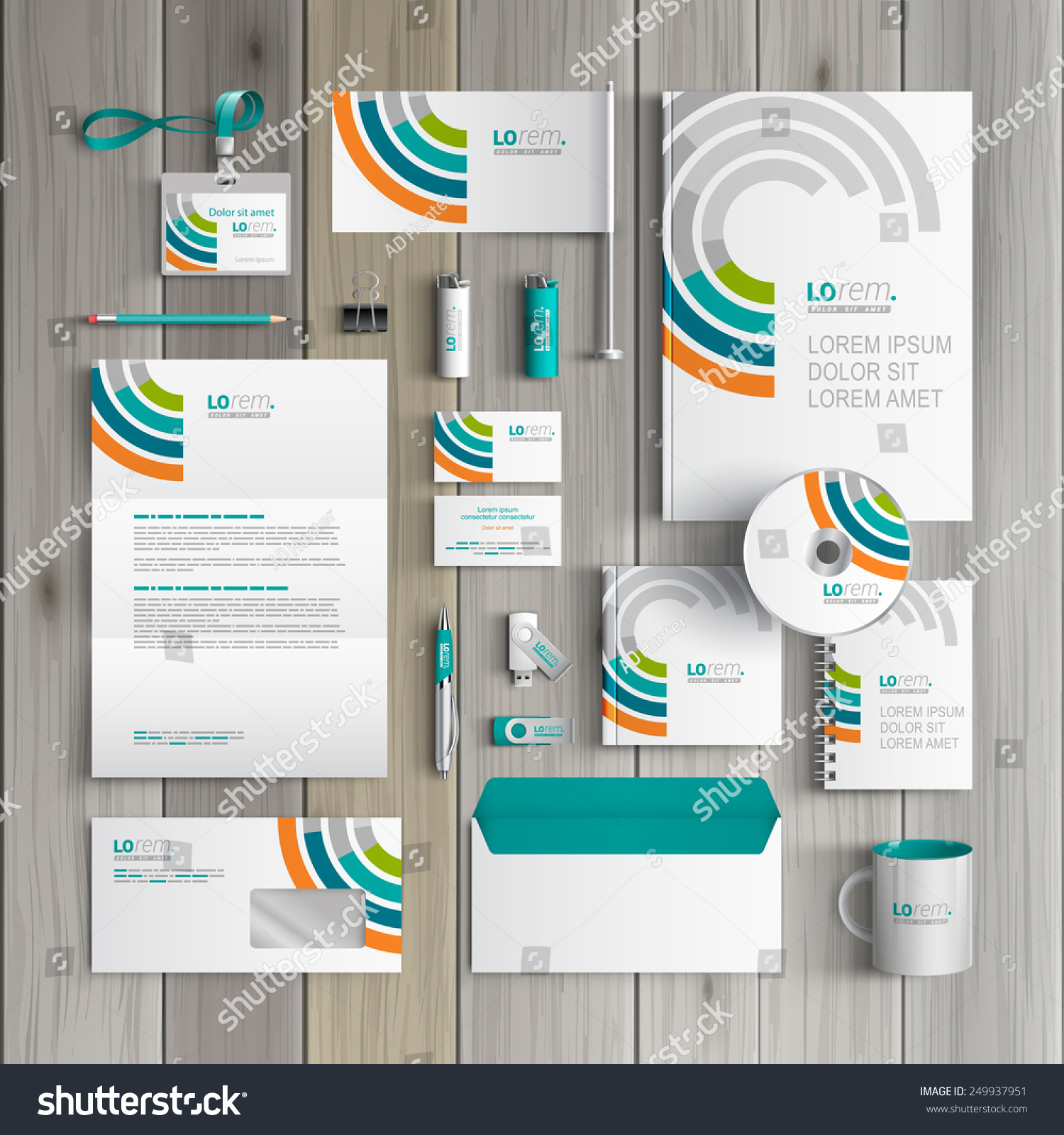Blank Stationery And Corporate Identity Template Consist: White Corporate Identity Template Design Round Stock