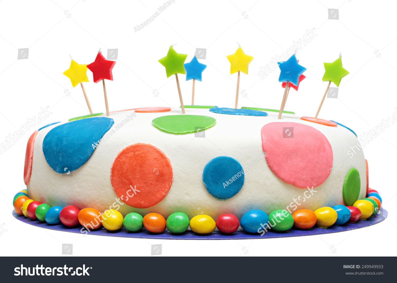 Colorful Birthday Cake Decorations Isolated On Stock Photo Edit Now