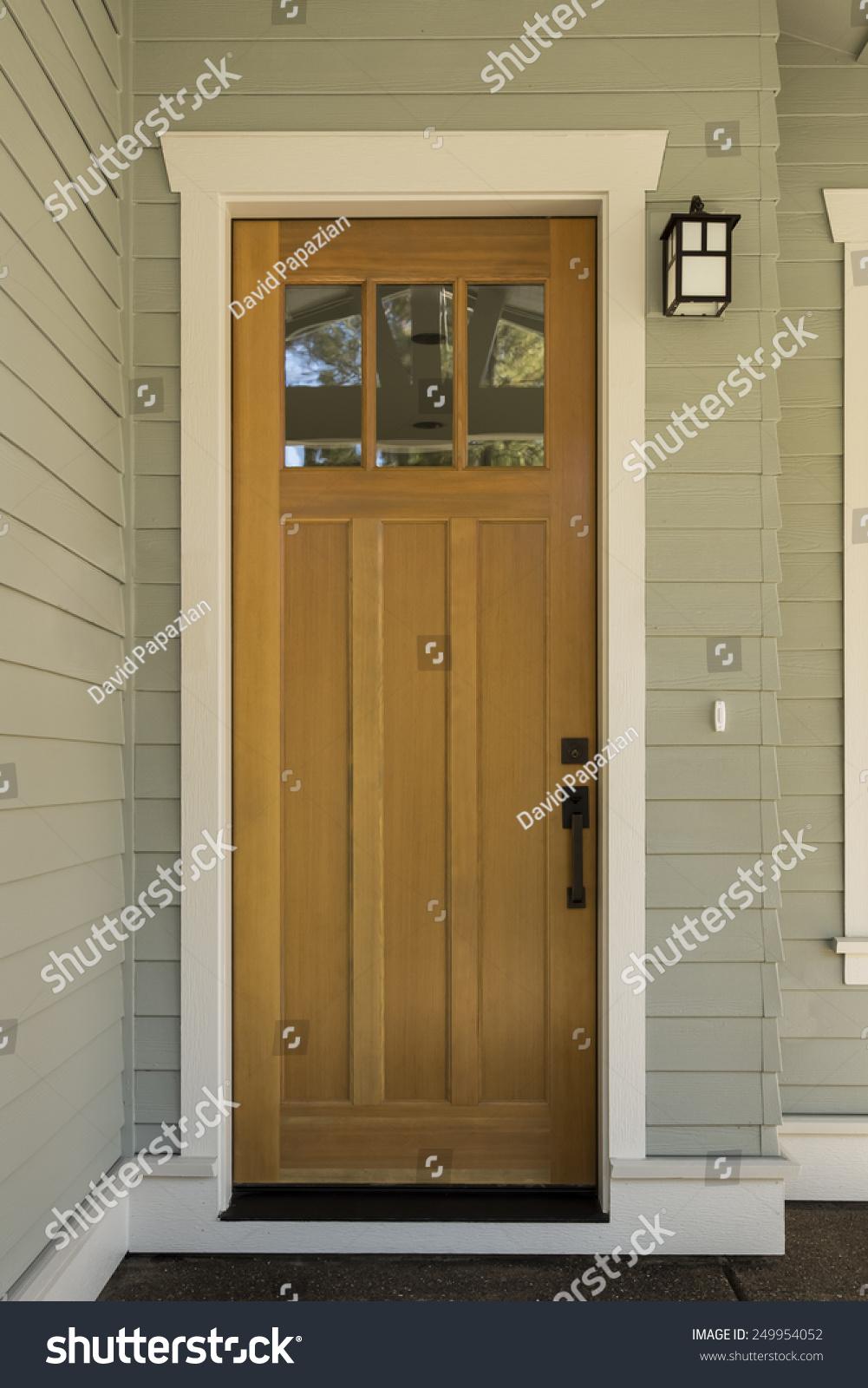 natural wood front door surrounding white stock photo 249954052 natural wood front door with surrounding white