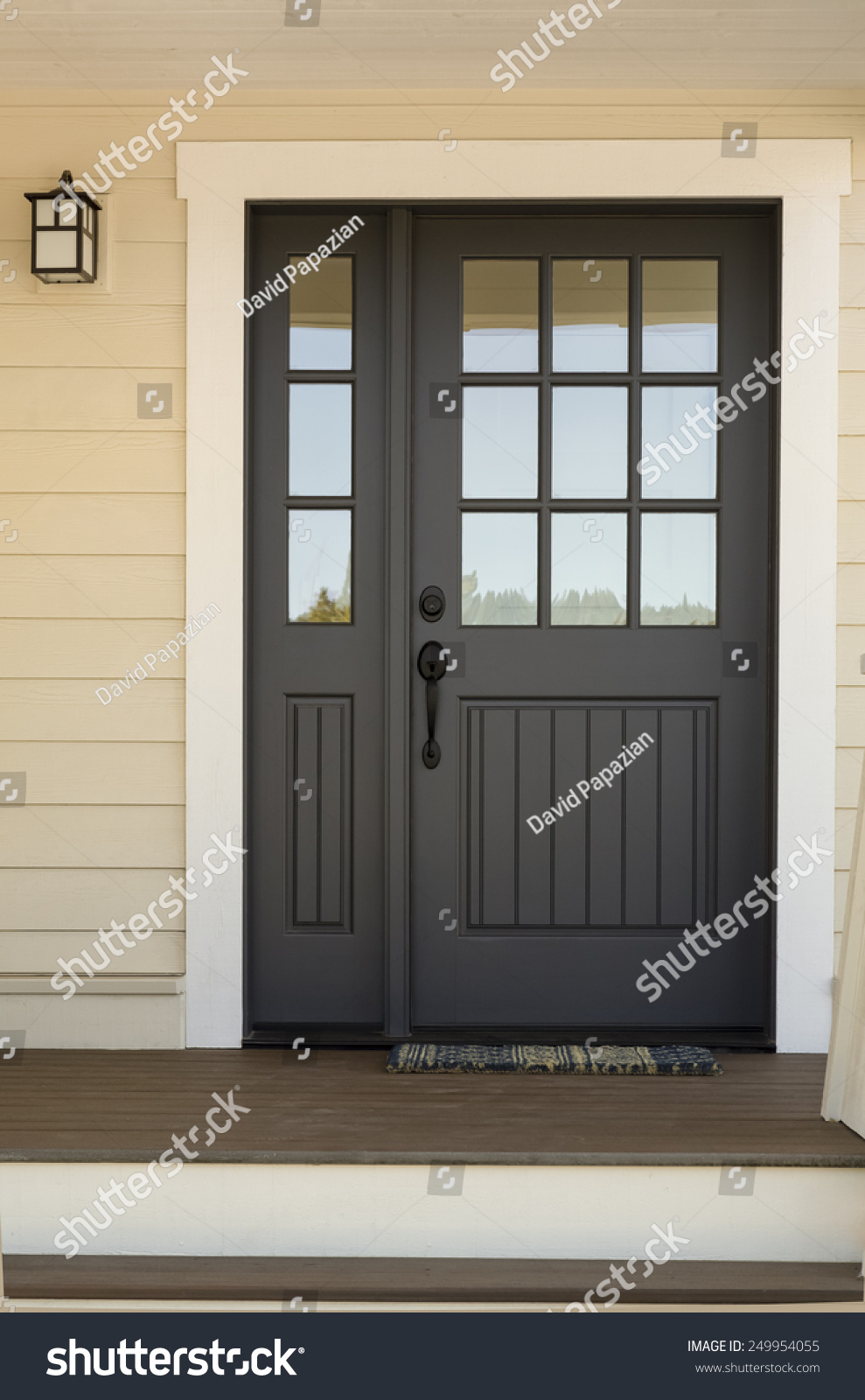 Close Black Front Door On House Stock Photo 249954055 ...