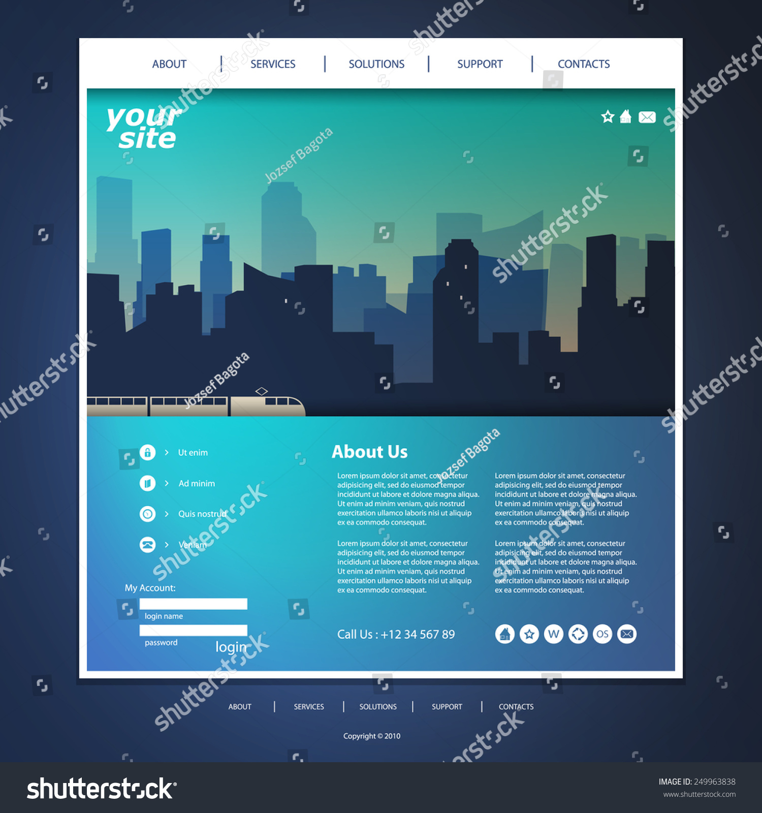 Website Header Template. website template design with abstract ...