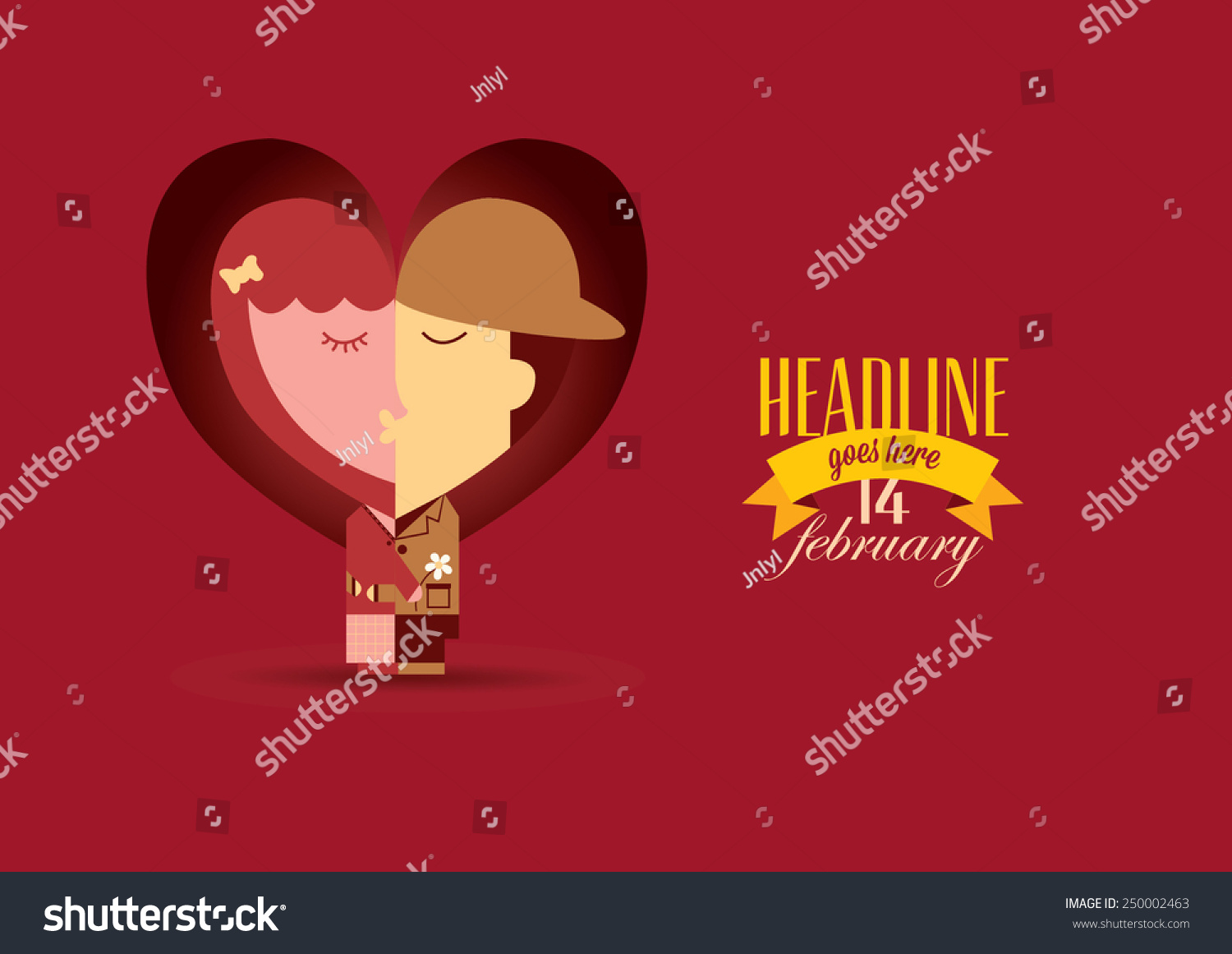 Valentines Day Card Illustrations Typography Elements Couple Stock ...