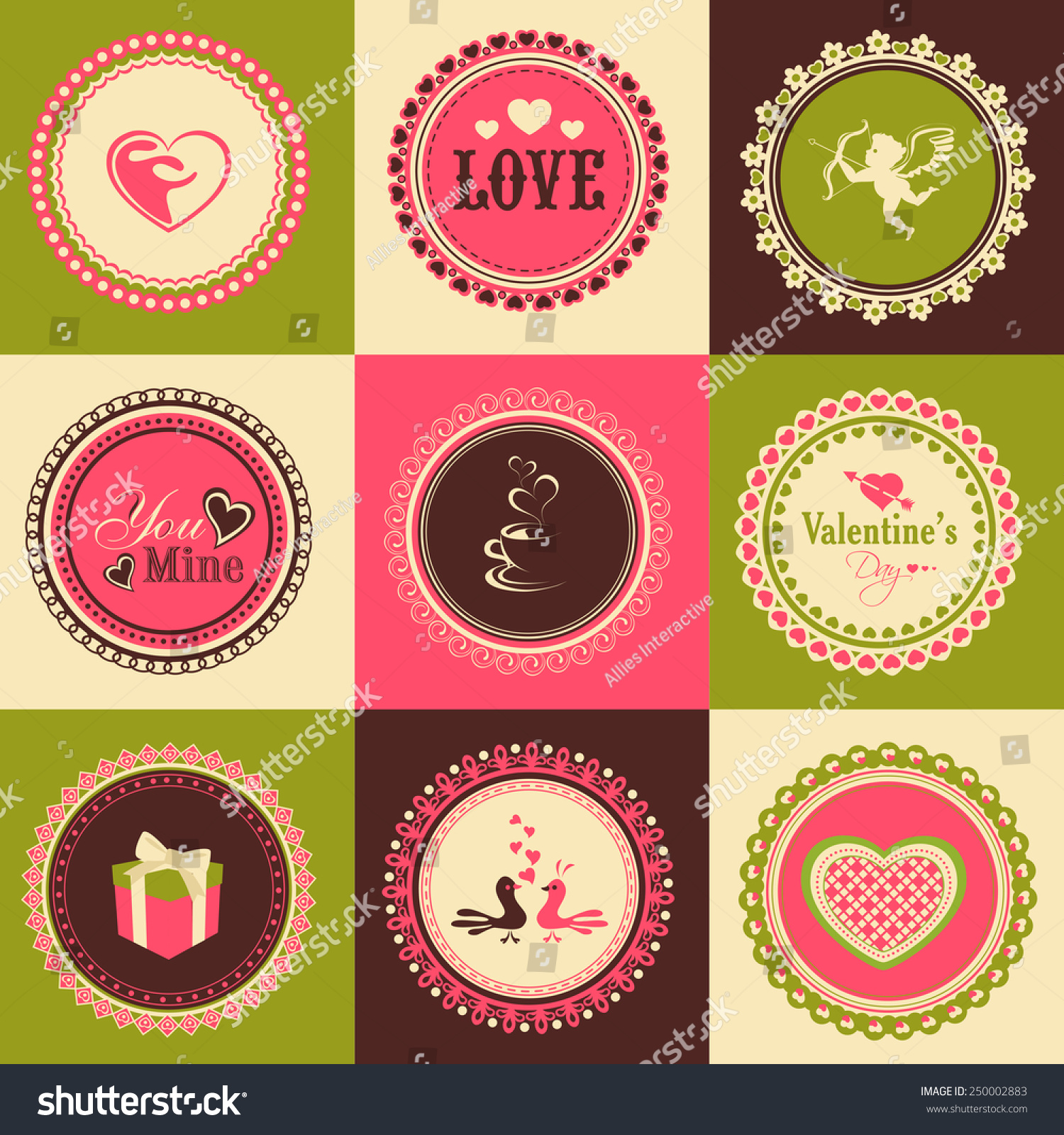 Set of beautiful stickers or labels design for happy valentines day celebration