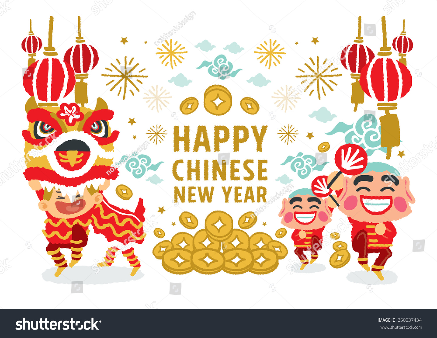 Chinese Calendar Illustration : Chinese new year lion dancing concepts stock vector