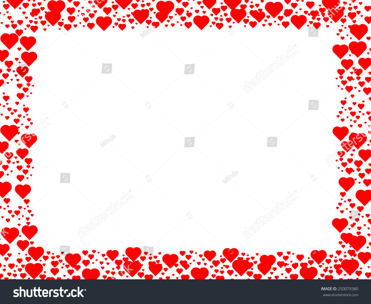 Valentines Day Background Red Hearts Border Stock Vector Royalty