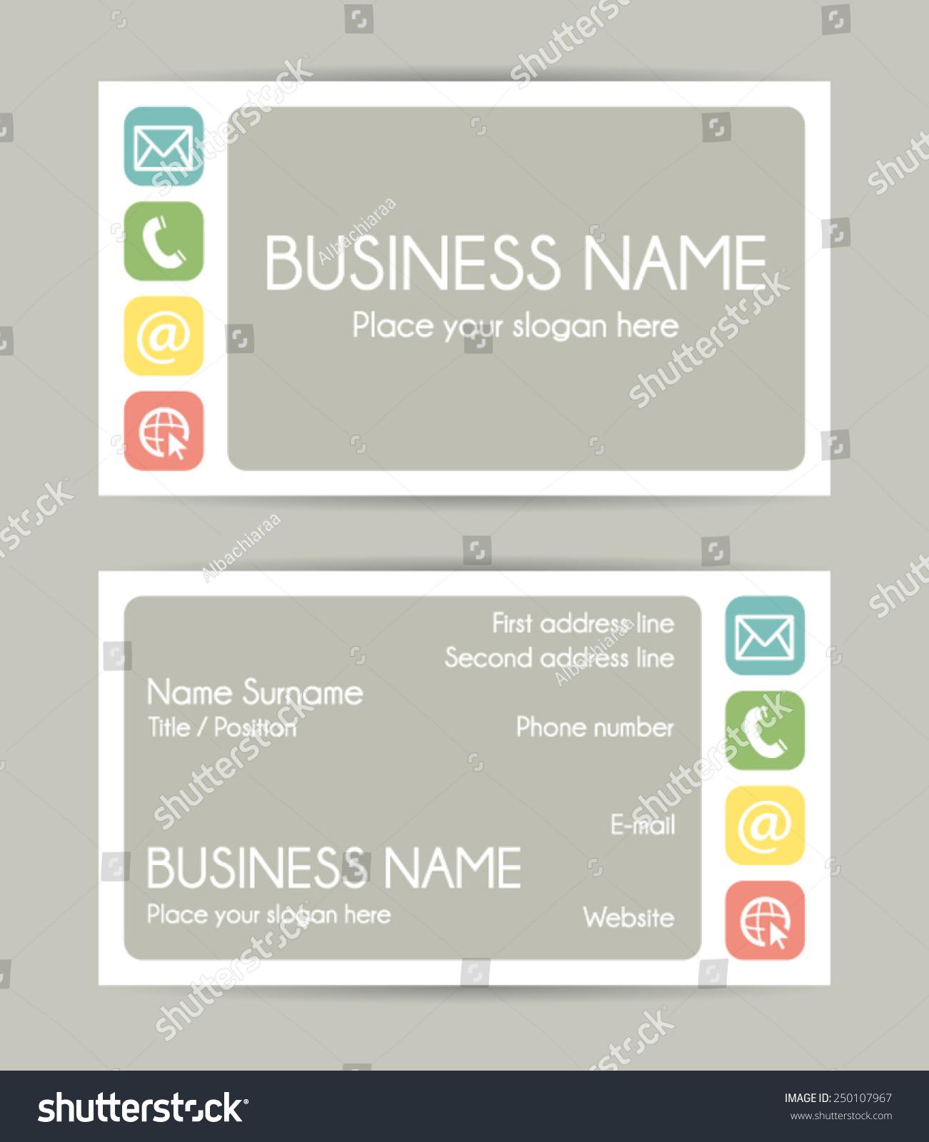 Business Card Flat Design Front And Back Vector Set Vi