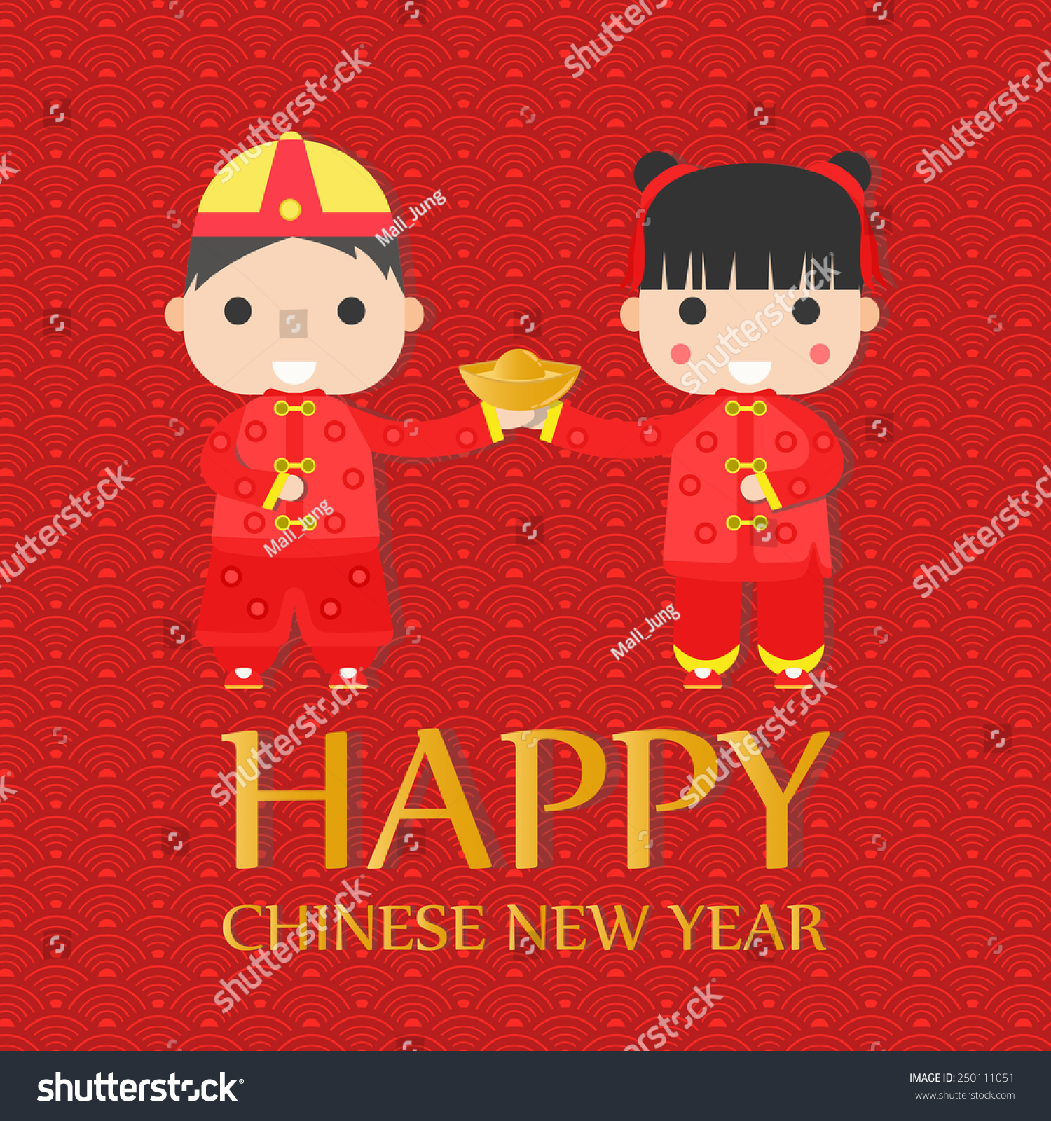 Happy Chinese New Year Greetings Childrenvector Stock Vector