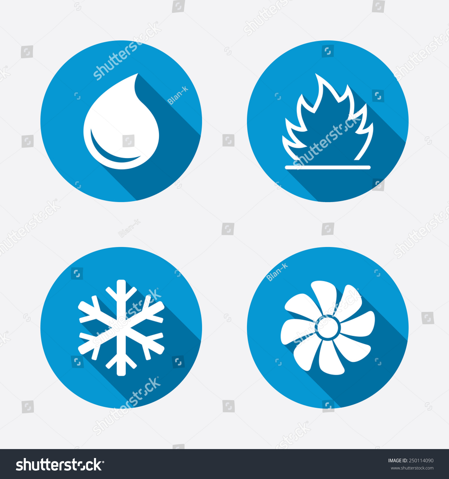 Hvac Icons Heating Ventilating Air Conditioning Stock Vector Ac Circuit Board Prices Conditioner And Symbols Water Supply Climate Control
