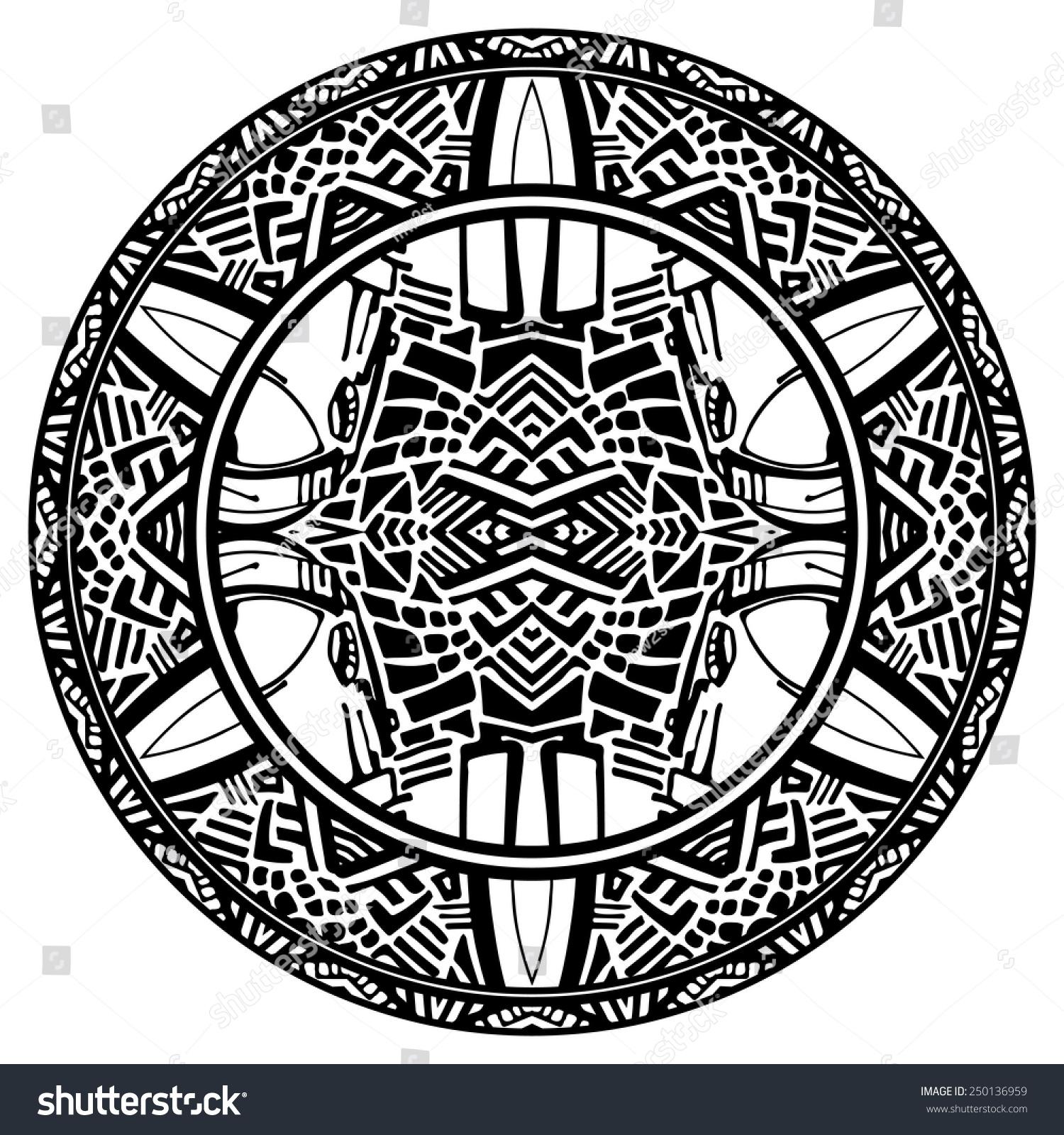 Vector Tribal Ornamental Circle Reminiscent Of The Aztec Calendar