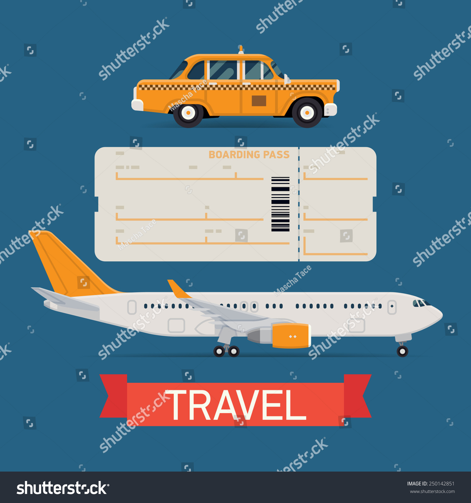 Vector set on travel flat design transportation icons featuring passenger jet airliner boarding pass airfare ticket blank and city yellow cab taxi vehicle