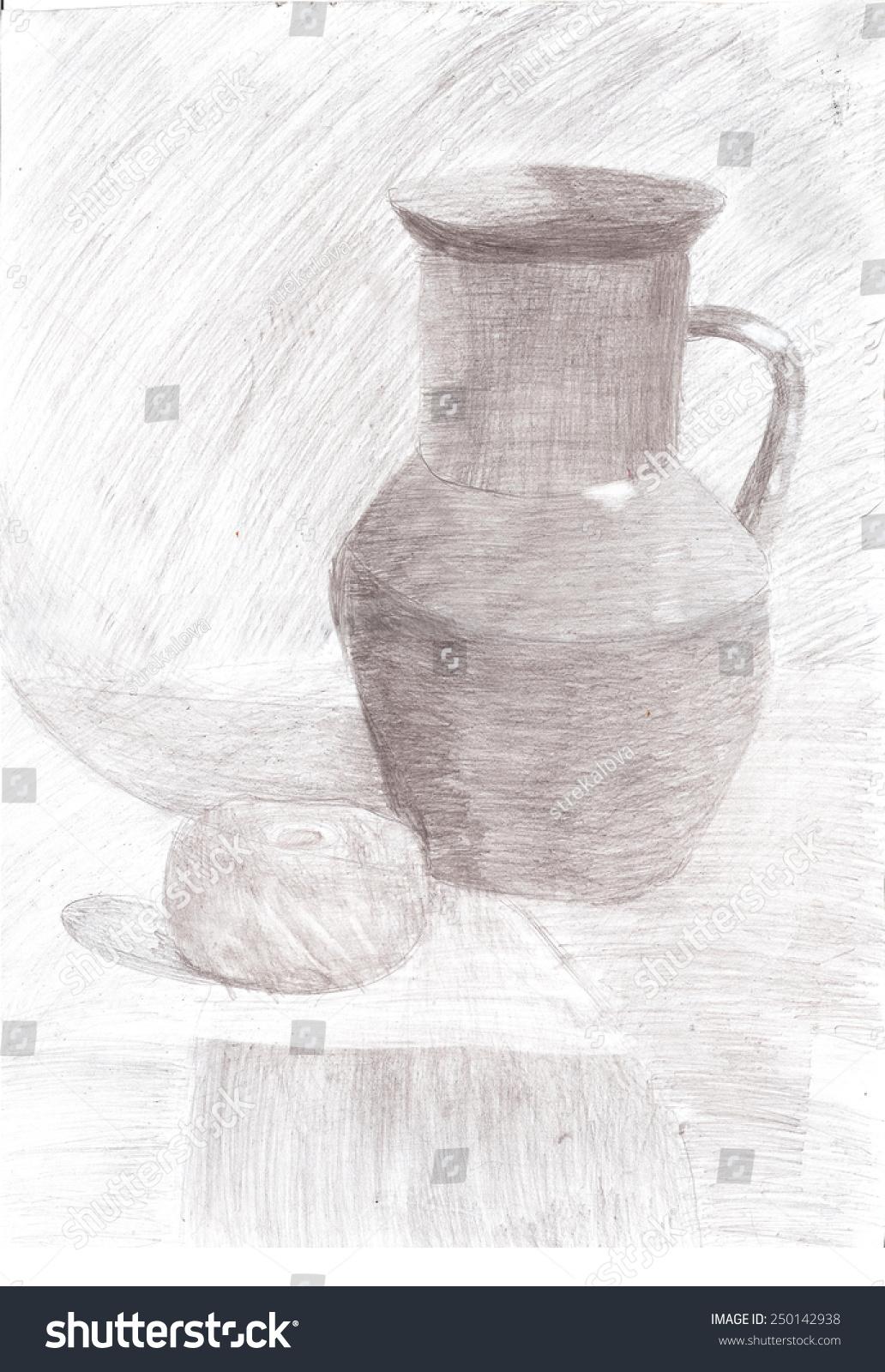 Pencil drawing still life jug apple stock illustration 250142938