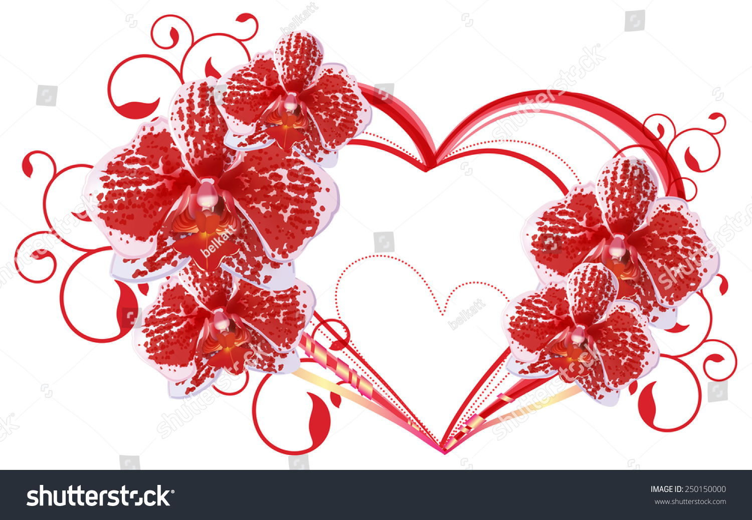 Burgundy Wine Orchid Flowers Shape Heart Stock Vector (Royalty Free ...