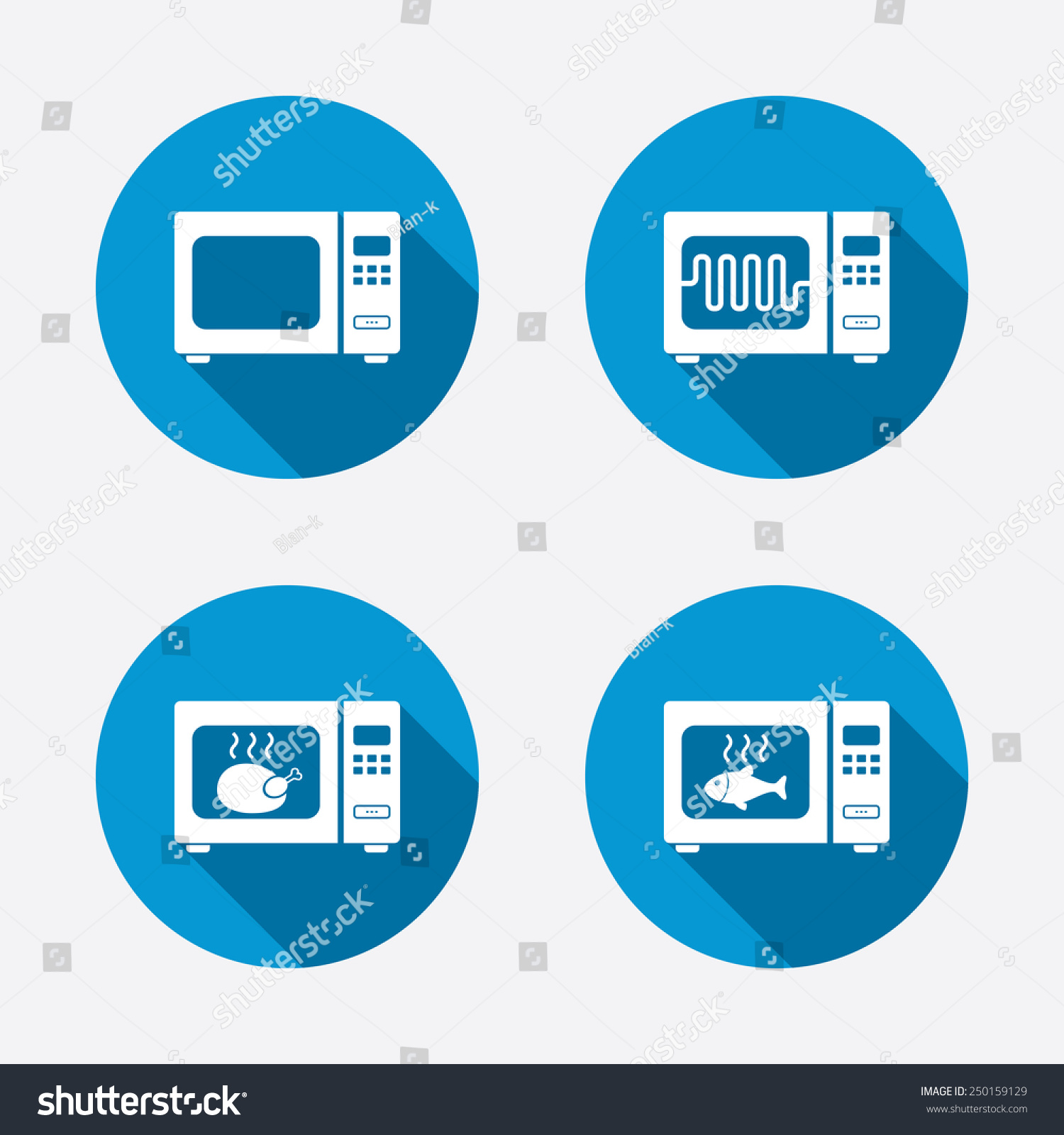 Microwave oven icons cook electric stove stock vector 250159129 microwave oven icons cook in electric stove symbols grill chicken and fish signs buycottarizona Image collections