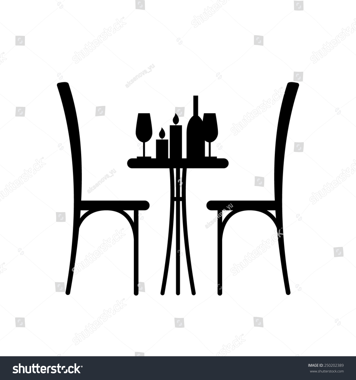 Wine Candles Table Chair Silhouette Stock Vector