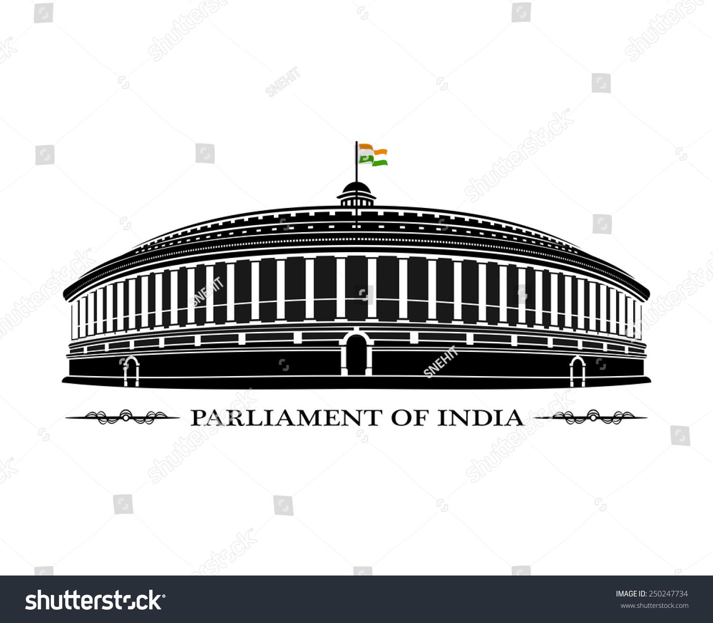 illustration indian parliament building stock vector