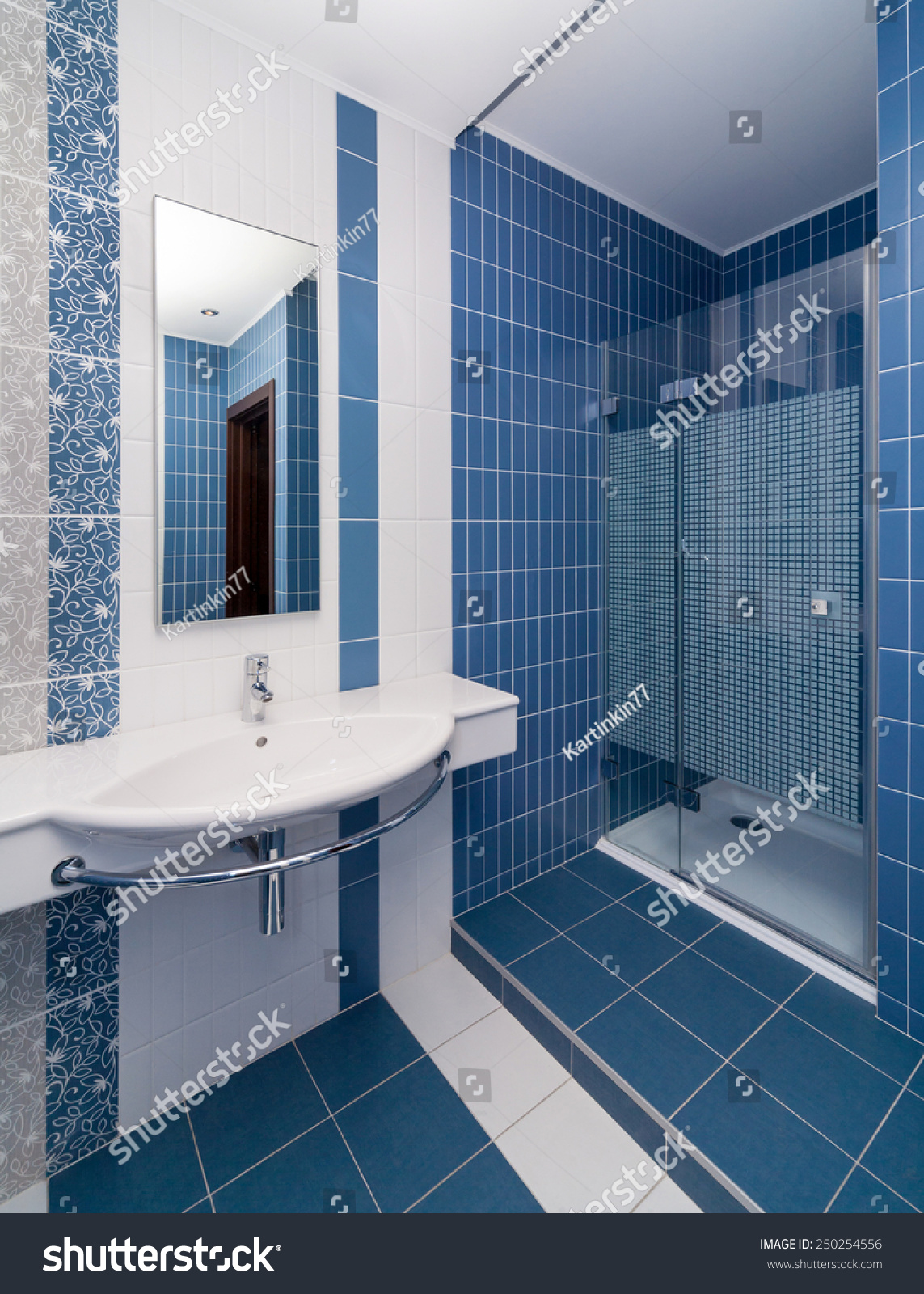 Modern Bathroom Tiled White Blue Tiles Stock Photo (Edit Now ...