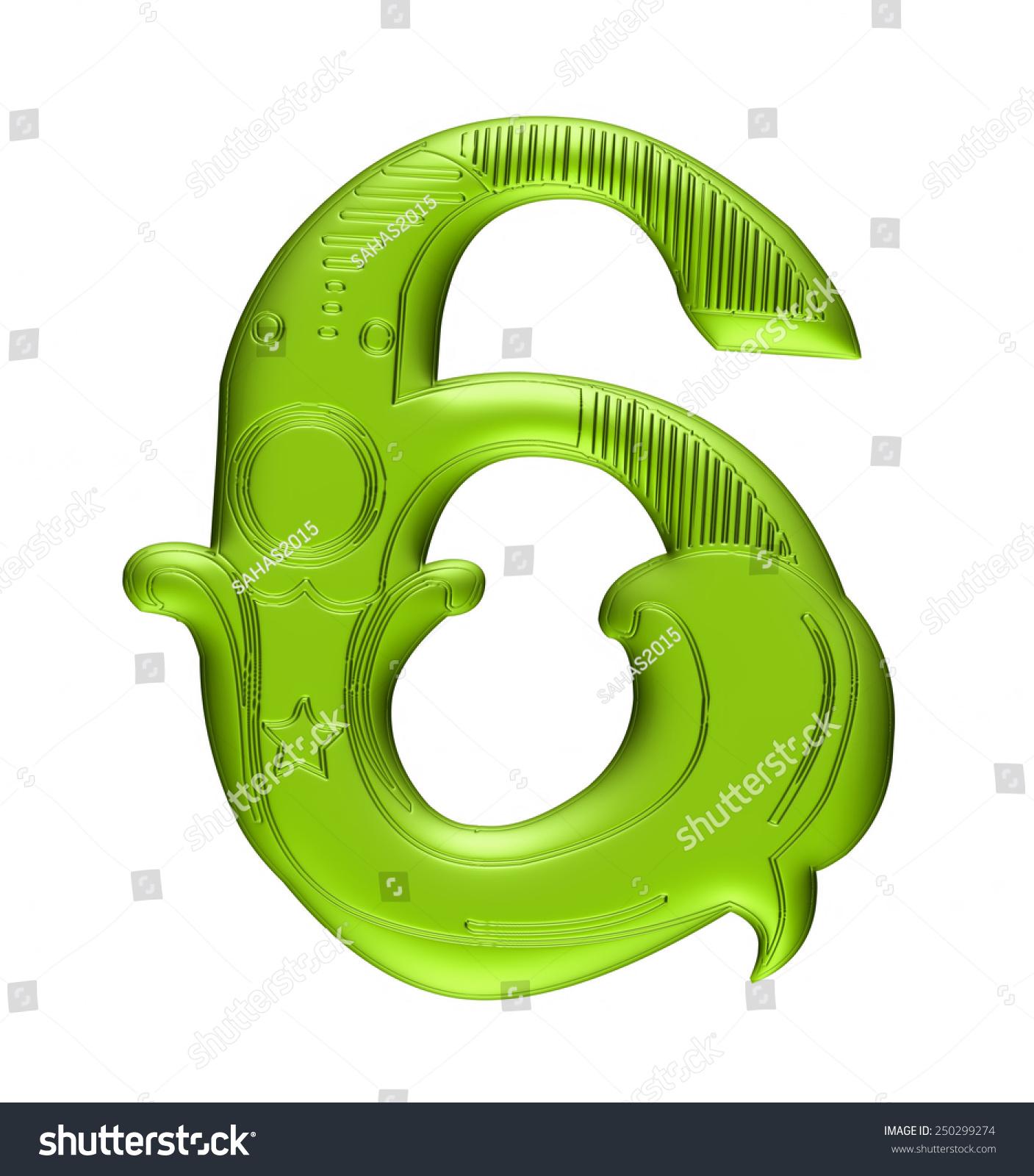 3d Floral Number 6 Green Color Stock Illustration 250299274 ...