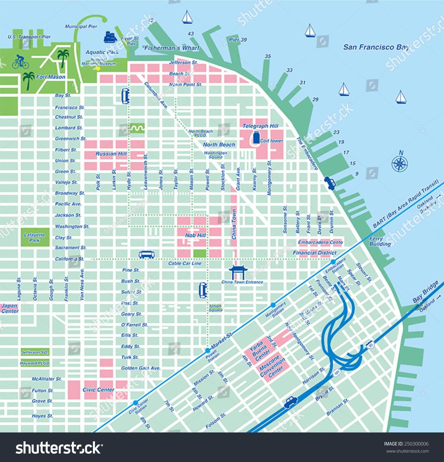 San Francisco City Map Vector Illustration Stock Vector Royalty