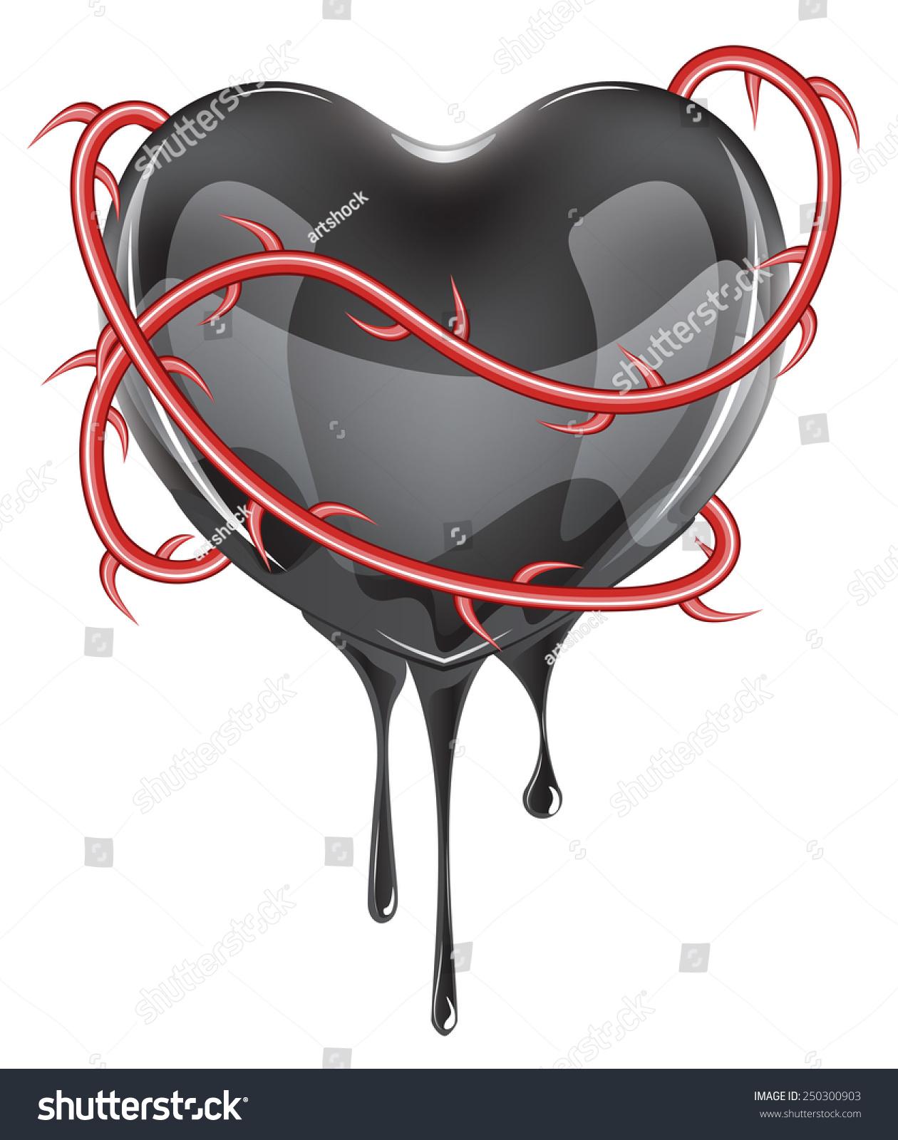 Black Bleeding Heart Icon Red Rose Stock Vector Royalty Free