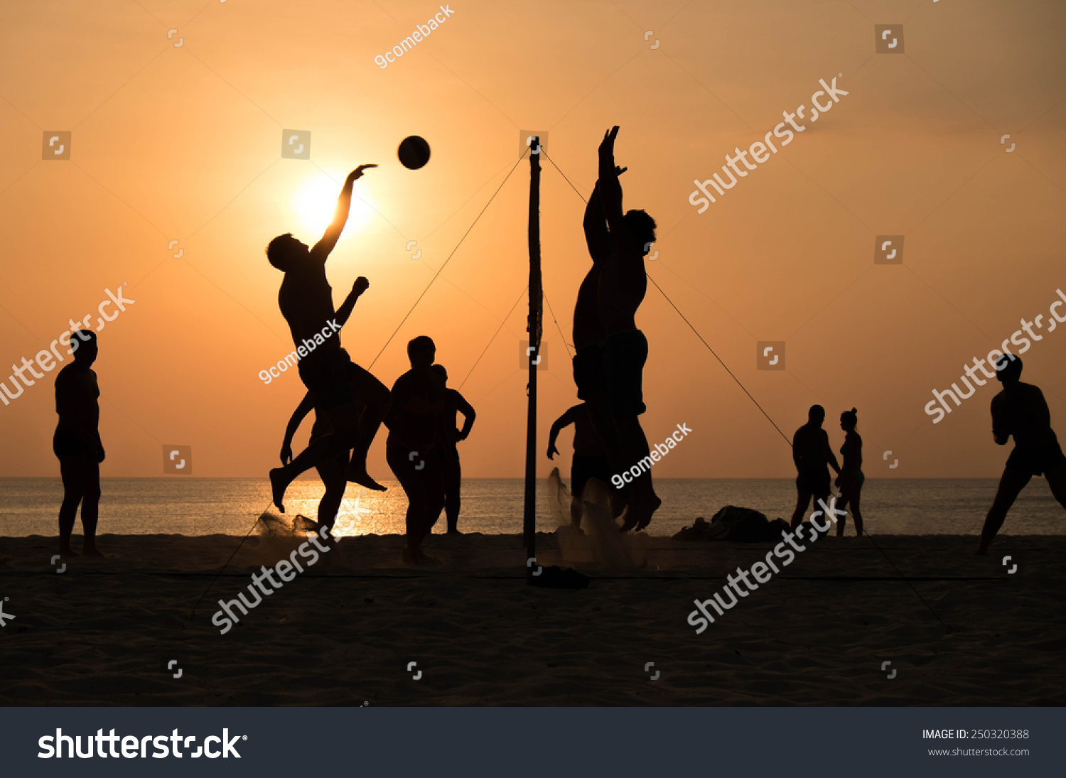 Illustration Abstract Volleyball Player Silhouette: Silhouette Of Beach Volleyball Player… Stock Photo