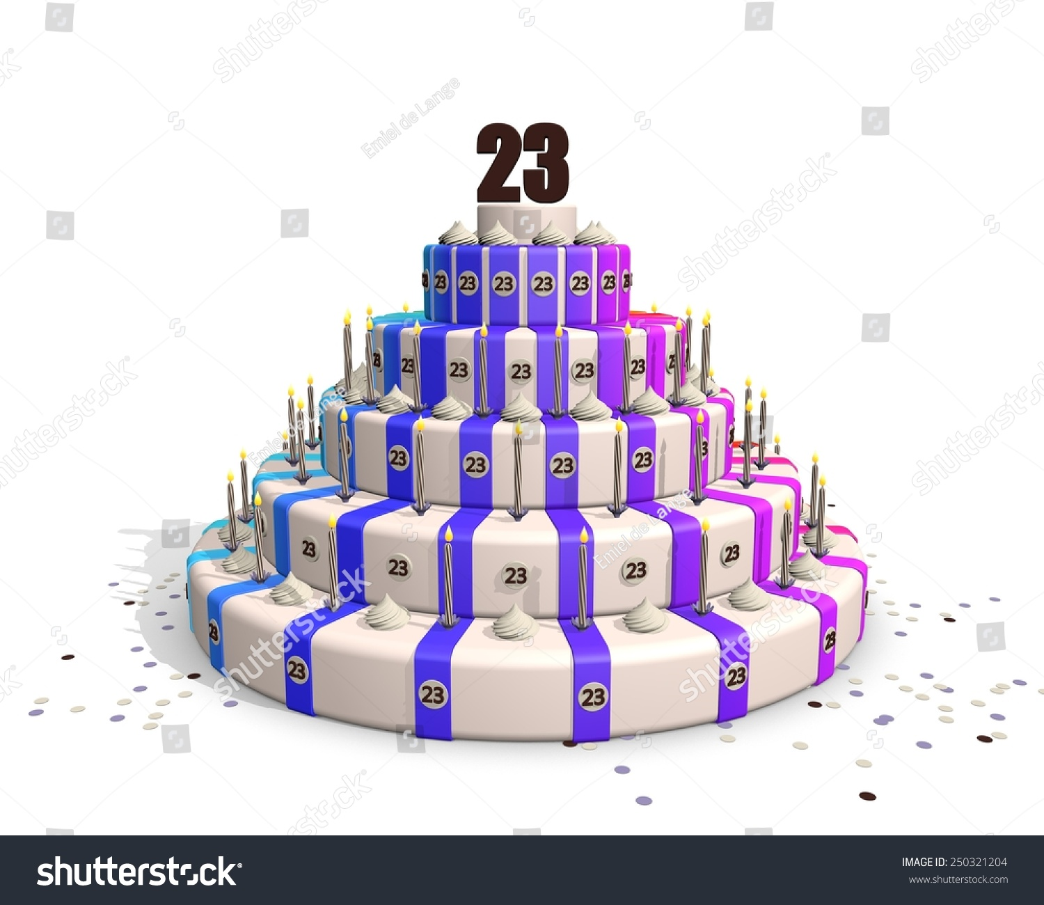 Happy Birthday Cake Candles Confetti On Stock Illustration 250321204