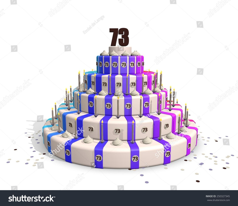 Big Happy Birthday Cake Candles On Stock Illustration